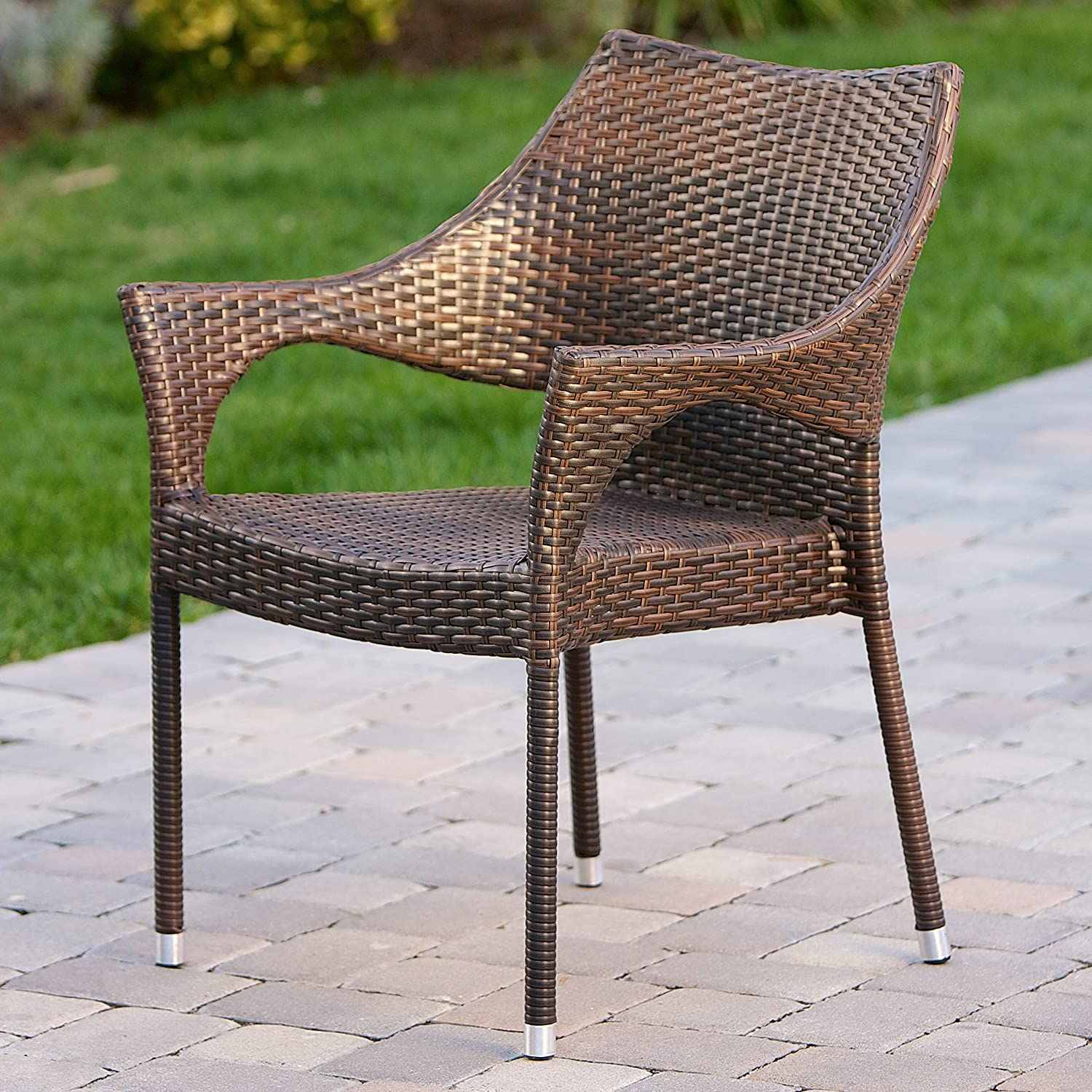 Gentil Amazon.com: Del Mar Outdoor | Wicker Stacking Chairs | Set Of 2 | Perfect  For Patio | MultiBrown: Kitchen U0026 Dining