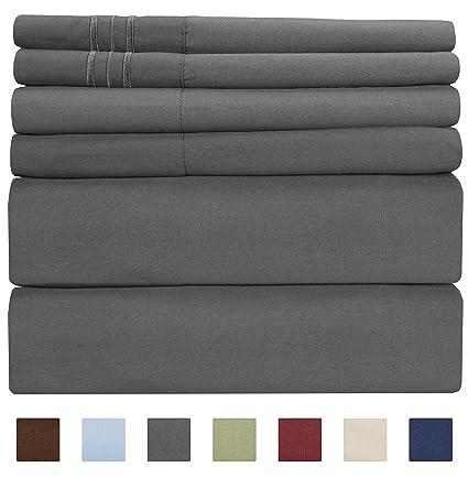 King Size Sheet Set   6 Piece Set   Hotel Luxury Bed Sheets   Extra Soft