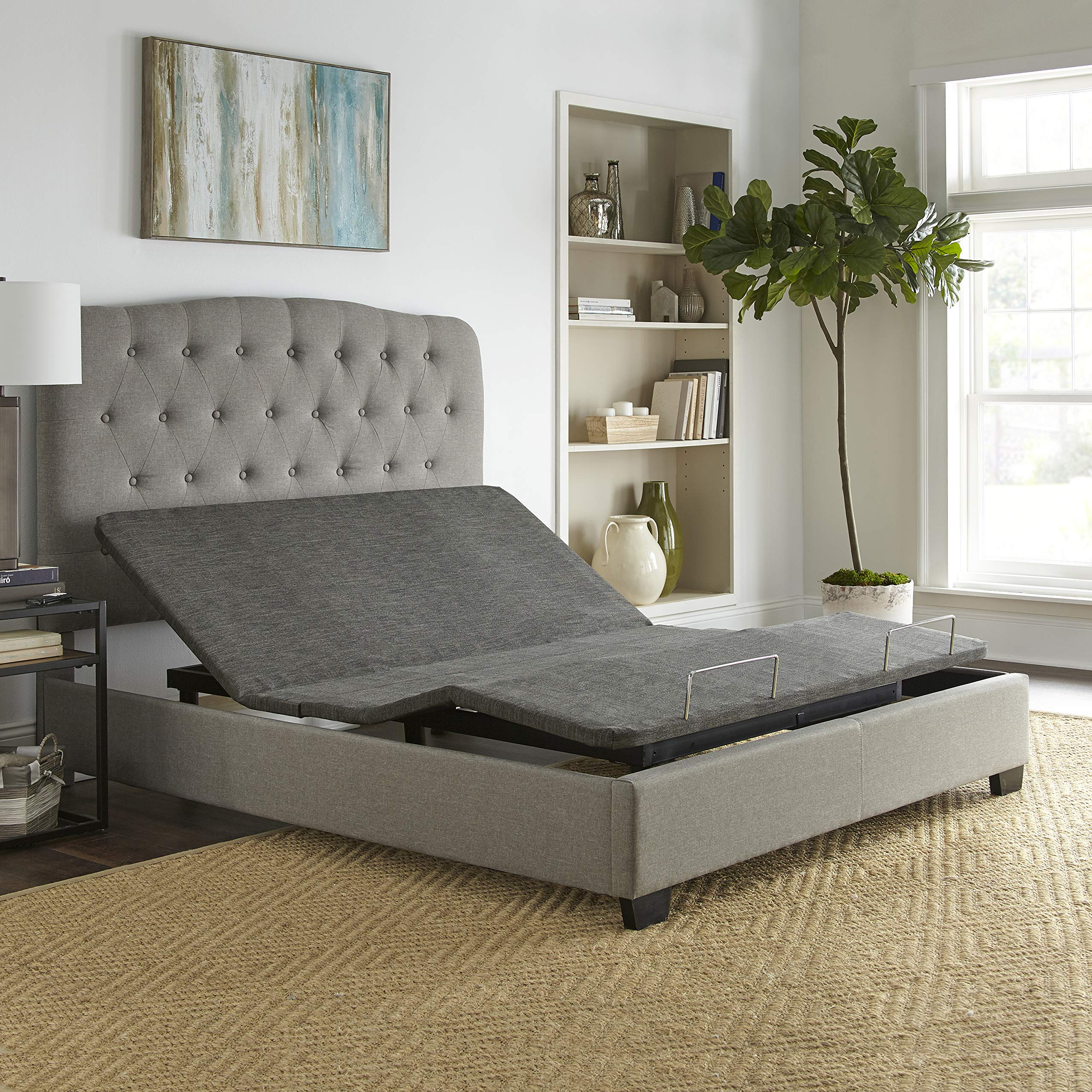Boyd Sleep Zero Clearance Upholstered Adjustable Bed Base Foundation with Wireless Remote, Queen by Boyd Sleep