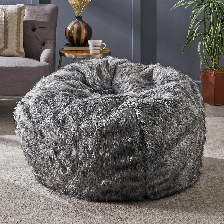 Christopher Knight Home Laraine Furry Glam Dark Light Grey Streak Faux Fur 3 Ft. Bean Bag
