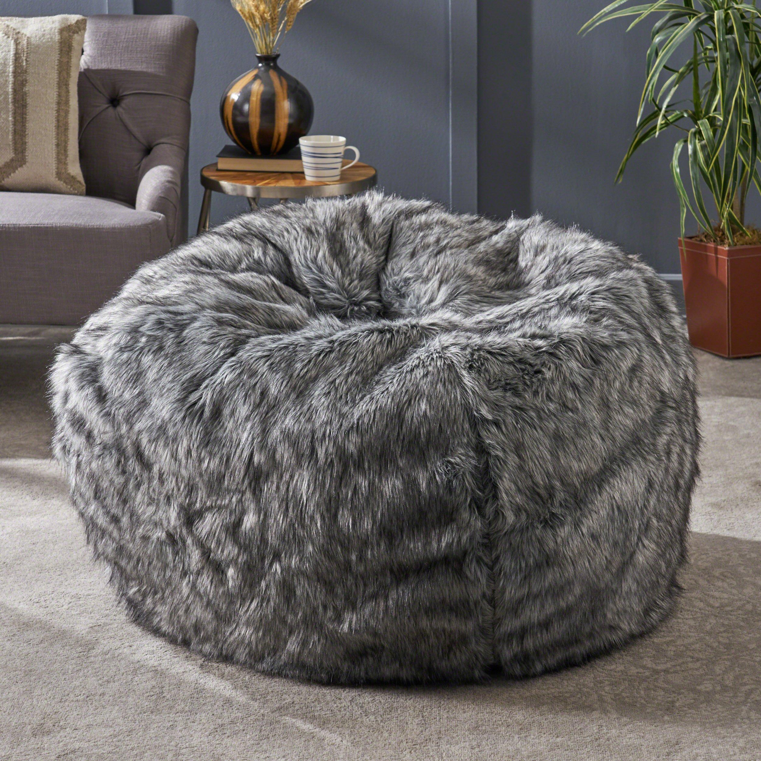 Christopher Knight Home Laraine Furry Glam Dark Light Grey Streak Faux Fur 3 Ft. Bean Bag by Christopher Knight Home