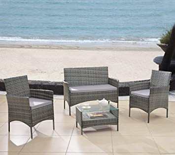 Modern Outdoor Garden, Patio 4 Piece Seat   Grey, Dark Espresso Wicker Sofa  Furniture