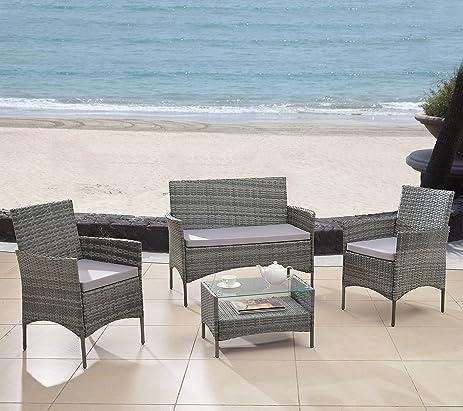 Modern Outdoor Garden, Patio 4 Piece Seat   Grey, Dark Espresso Wicker Sofa  Furniture