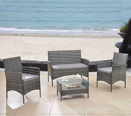 Amazon.com : Modern Outdoor Garden, Patio 4 Piece Seat   Grey, Dark  Espresso Wicker Sofa Furniture Set (Grey) : Garden U0026 Outdoor