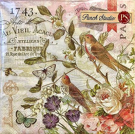 40 Ct Punch Studio Boutique Paper Luncheon Napkins #, Fleur De ...