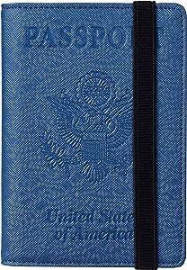 Travelambo RFID Blocking Leather Passport Holder Cover Case Travel Wallet Elastic Strap(Blue CH Stone mill blue)