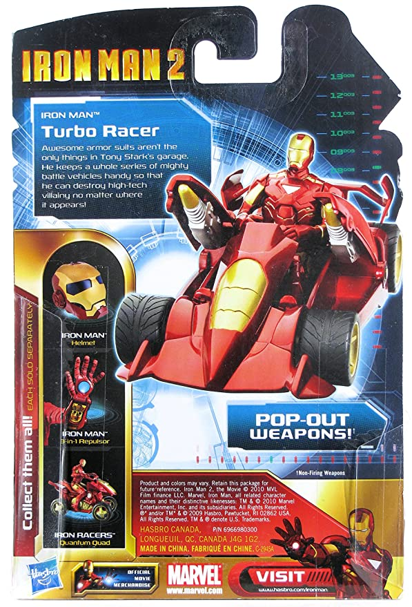 Amazon.com: Iron Man 2 Iron Racers Turbo Racer Pull-Back Race Car with Pop-Out Weapons: Toys & Games