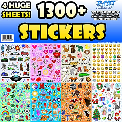 Sticker sheet assortment set 1300 stickers year round variety pack by rycast