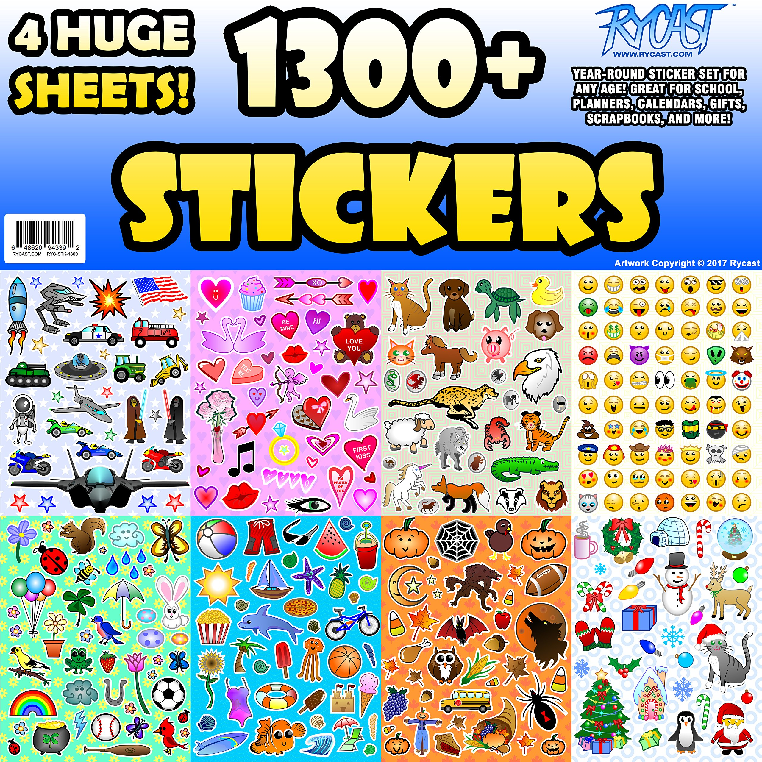 Sticker Sheet Assortment Set, 1300+ Stickers, Year Round Variety Pack by Rycast, for Children, Kids, Parents, Teachers, School, Crafts, Calendars, Planners, Scrapbooks, Emoji