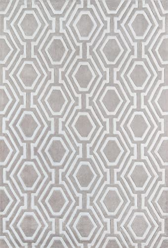 Momeni Rugs Bliss Collection, Hand Carved Tufted Contemporary Area Rug, 3 6 x 5 6 , Grey