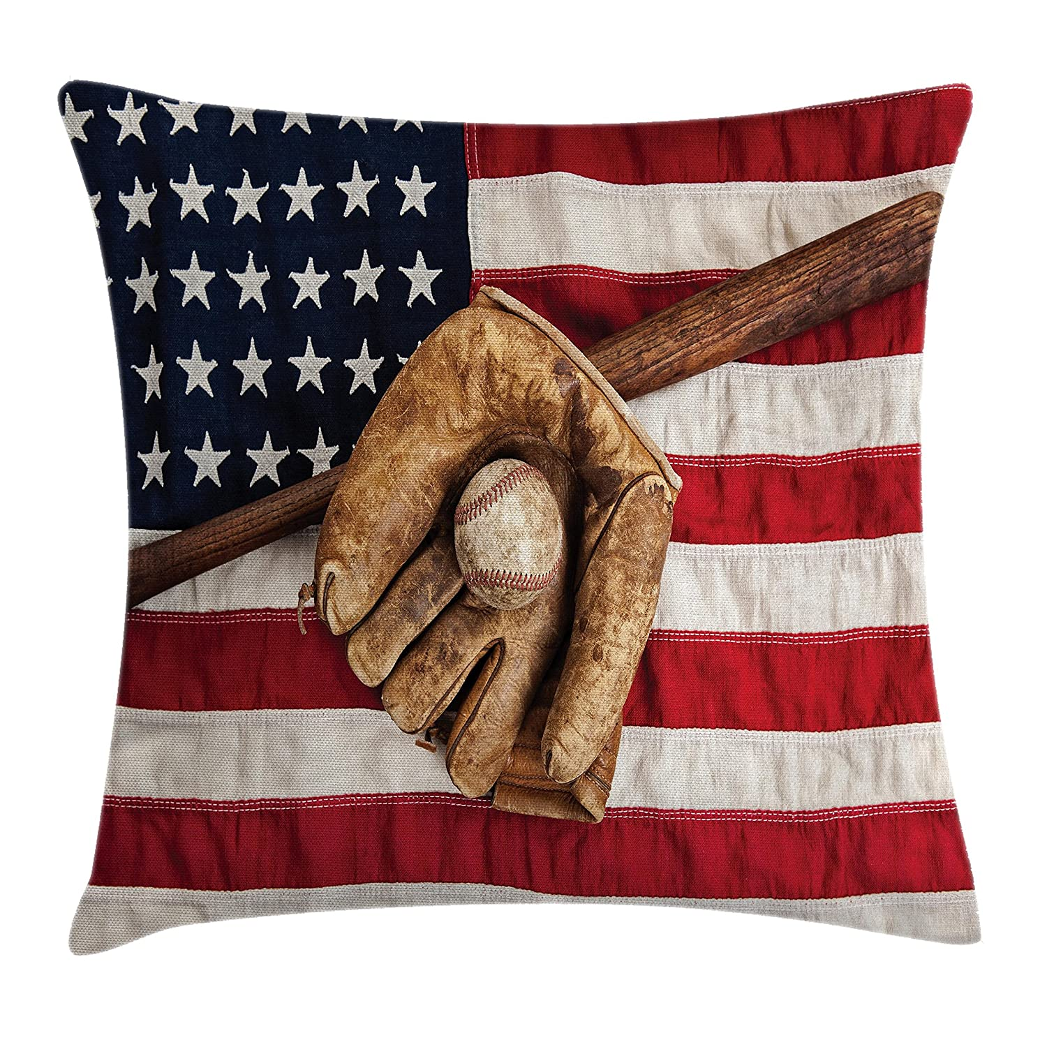 Ambesonne Sports Decor Throw Pillow Cushion Cover Decorative Square Accent Pillow Case Vintage Baseball League USA Grunge Glove Bat Fielding Sports Theme Image 24 X 24 Inches Brown Red Blue