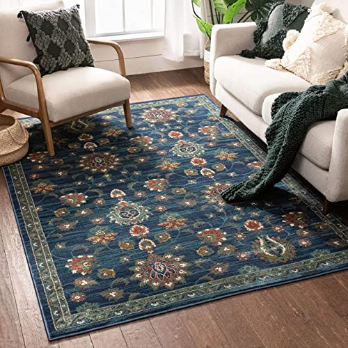 Well Woven Allie Blue Traditional Floral Area Rug 8×10 7'10″ x 9'10″