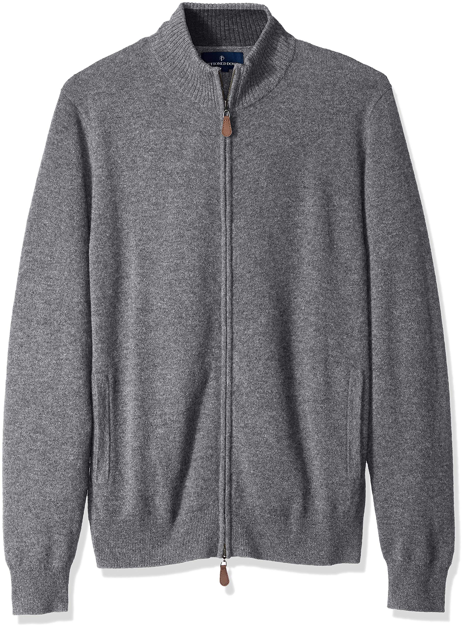 BUTTONED DOWN Men's 100% Premium Cashmere Full-Zip Sweater, Grey, Large by Buttoned Down