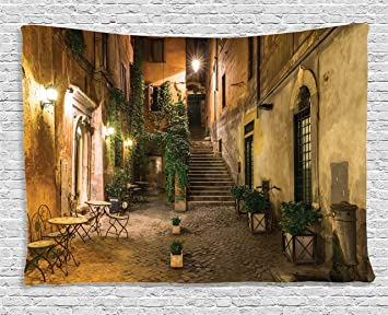Ambesonne Wanderlust Decor Collection Courtyard Night View With Street Lights Cafe Chairs Plants In Flowerpots
