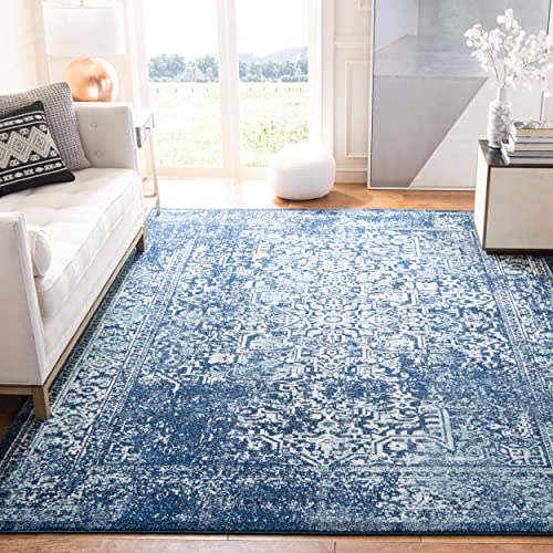 Safavieh Evoke Collection EVK256A Vintage Oriental Navy and Ivory Area Rug 9' x 12'