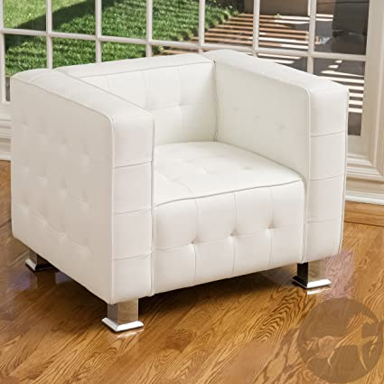 Decco Modern White Leather Club Chair, White