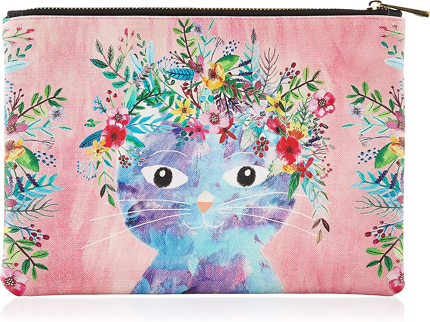 Studio Oh! Zippered Pouch, Large, Fancy Cat (POL03)