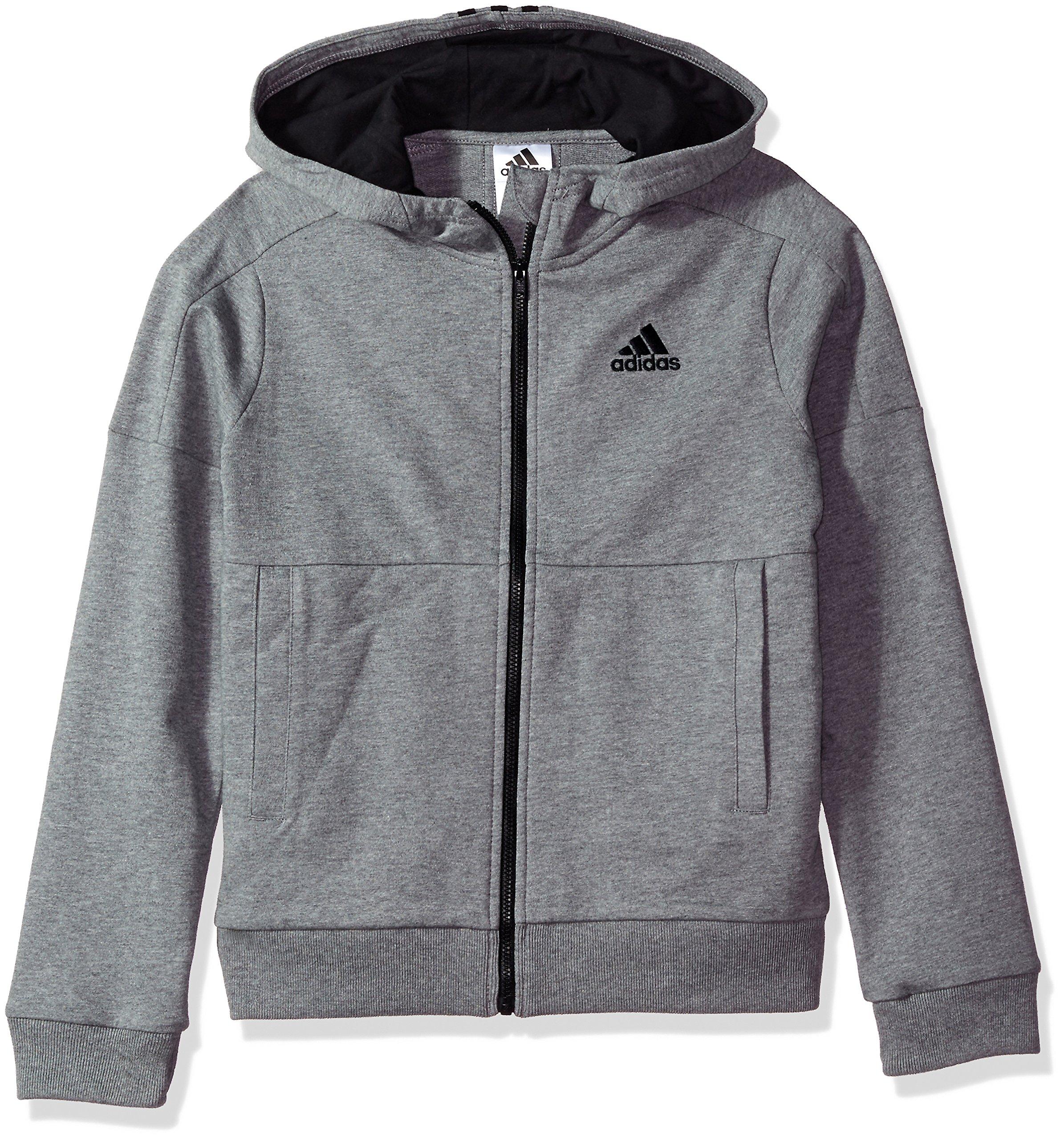 adidas Boys' Big Athletics Jacket, Charcoal Grey Heather, S (8/10)