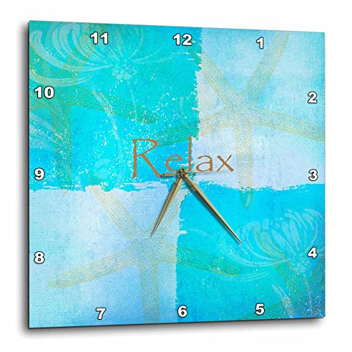 3dRose LLC DPP_79350_1 Wall Clock, 10 by 10-Inch, Relax Starfish Aqua and Blue Beach Theme with Ocean Colors