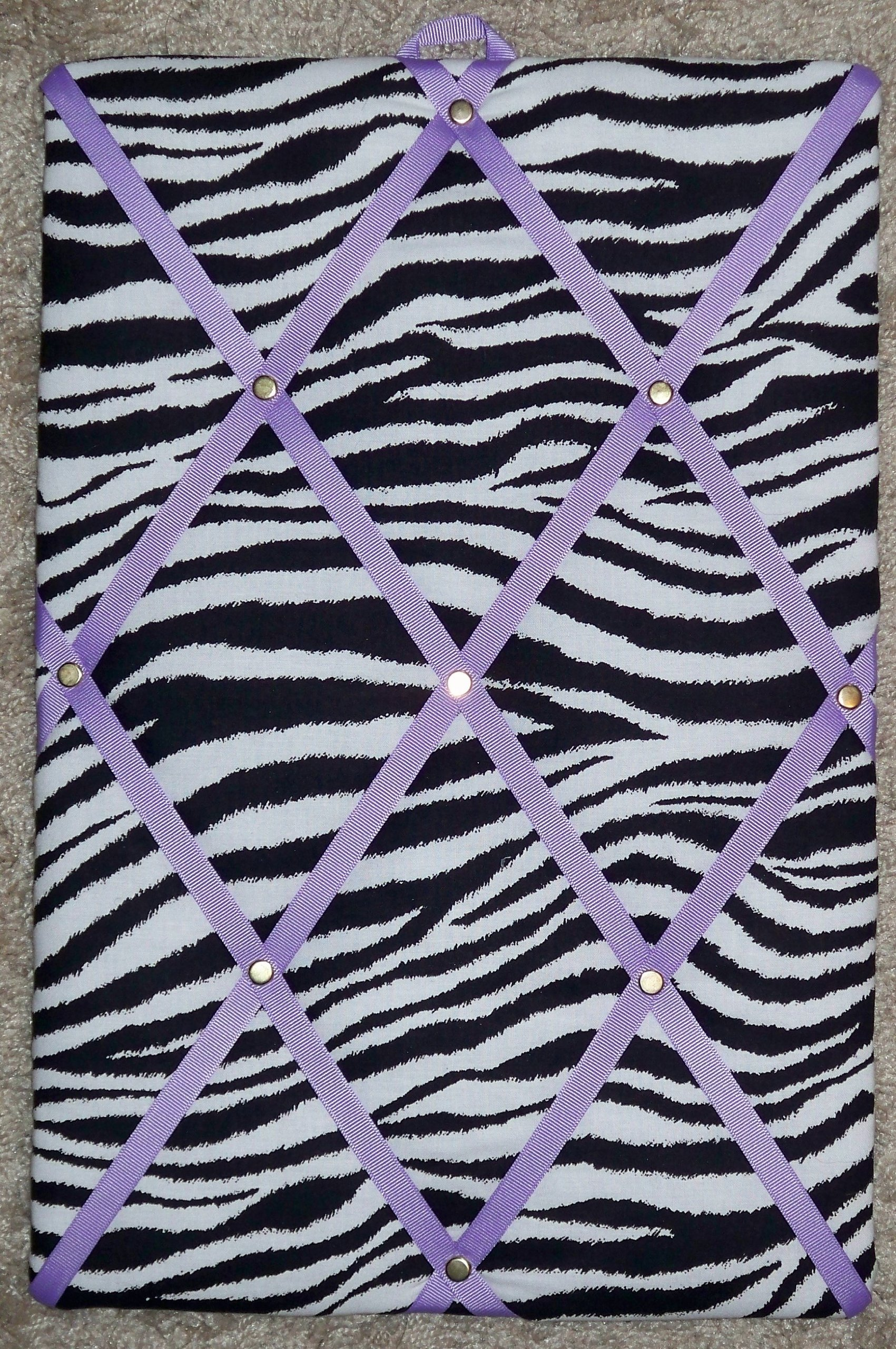 Zebra with Light Purple French / Memo Board (10'' x 15'') by toycatz creations