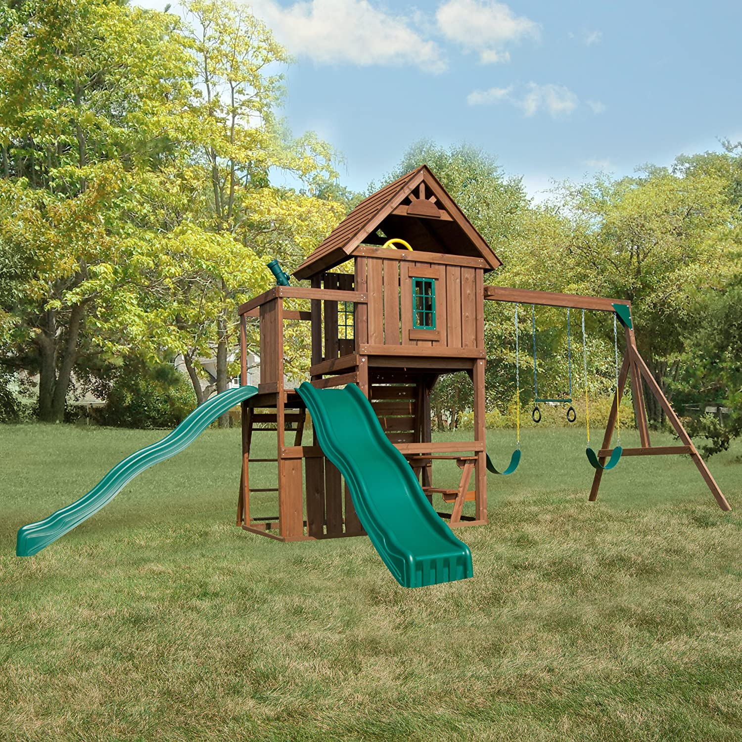 amazon com swing n slide mont eagle play set with two swings two