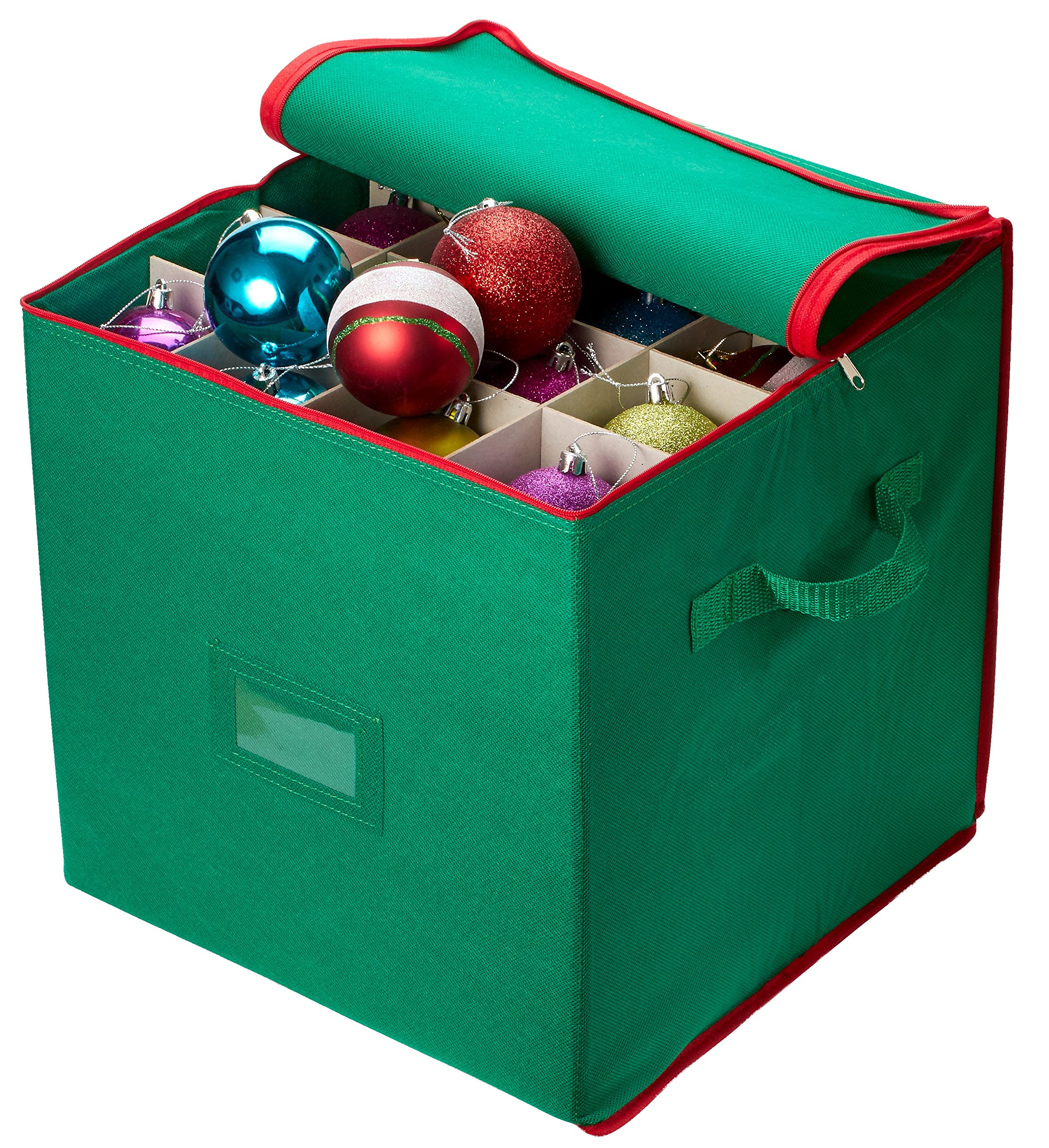 Christmas Ornament Storage - Stores up to 64 Holiday Ornaments, Adjustable Dividers, Zippered Closure with Two Handles. Attractive Storage Box Keeps Holiday Decorations Clean and Dry for Next Season.