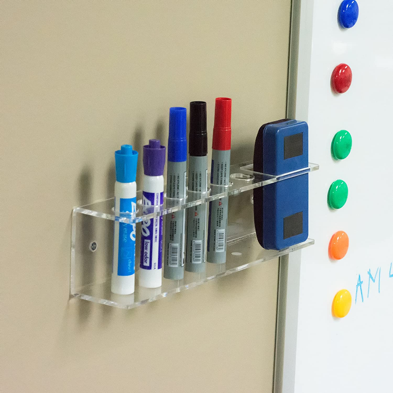 Clear Acrylic Wall Mountable 6 Slot Dry Erase Marker /& Eraser Holder Organizer Rack MyGift/®