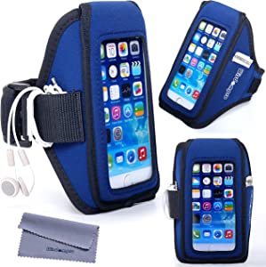 Wisdompro iPhone 6, 6s Armband for Running Exercise, Sports Workout Armband with Headphones Organizer and Key Holder for iPhone 6s/6, Also fits Galaxy S7/S6/S6 Edge (Blue/Black)