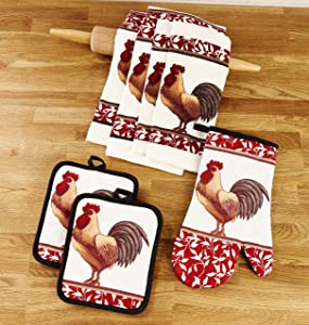 Kitchen Linen Rooster Theme Set with Towels, Mitt, and Pot Holders - 7 Pieces