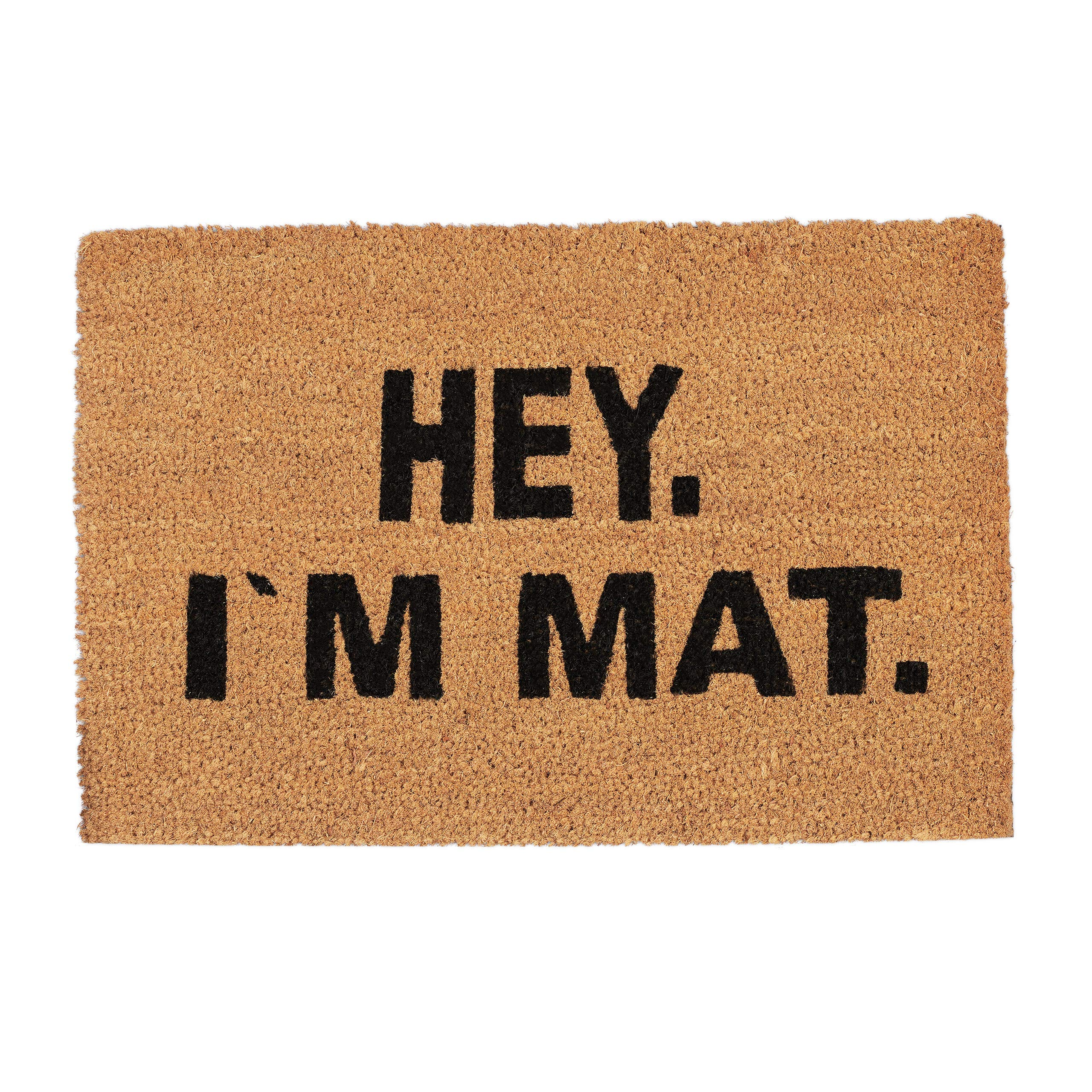 Relaxdays Doormat I'M MAT, Coconut Fibres, Non-Slip Welcome Mat, In- and Outdoors, WxD: 60 x 40 cm, Natural/Black