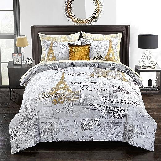 Amazon.com: pop shop Voyager en Paris Bed in a Bag, Twin, Gold