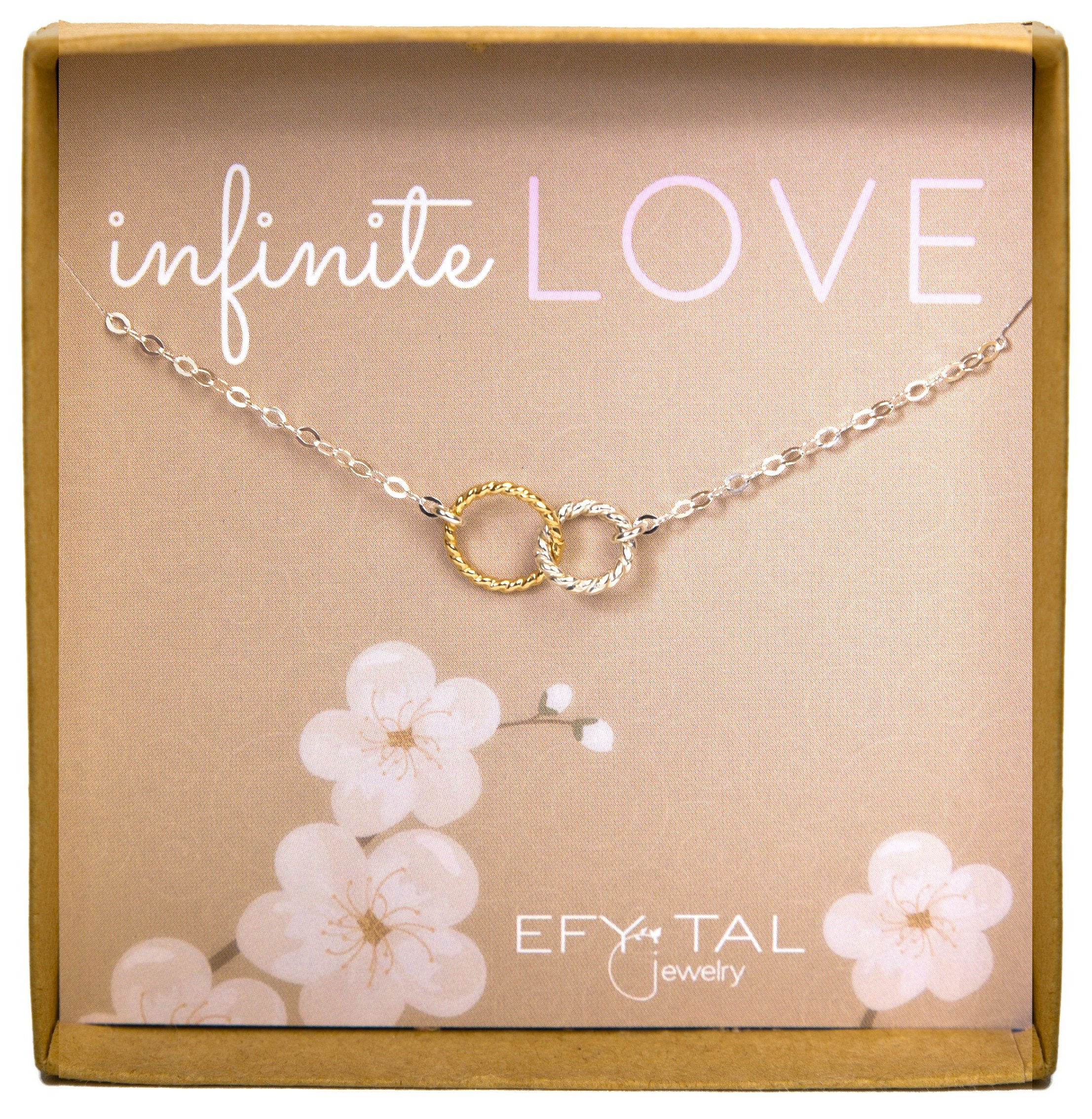 Efy Tal Jewelry Infinity Necklace, Two Tone Interlocking Circles in Sterling Silver and Gold Filled, Infinite Love