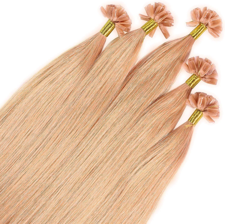 Just Beautiful Hair 25 x 0.8g REMY Extensiones de queratina - 50cm, colore #27 rubio dorado oscuro, liso