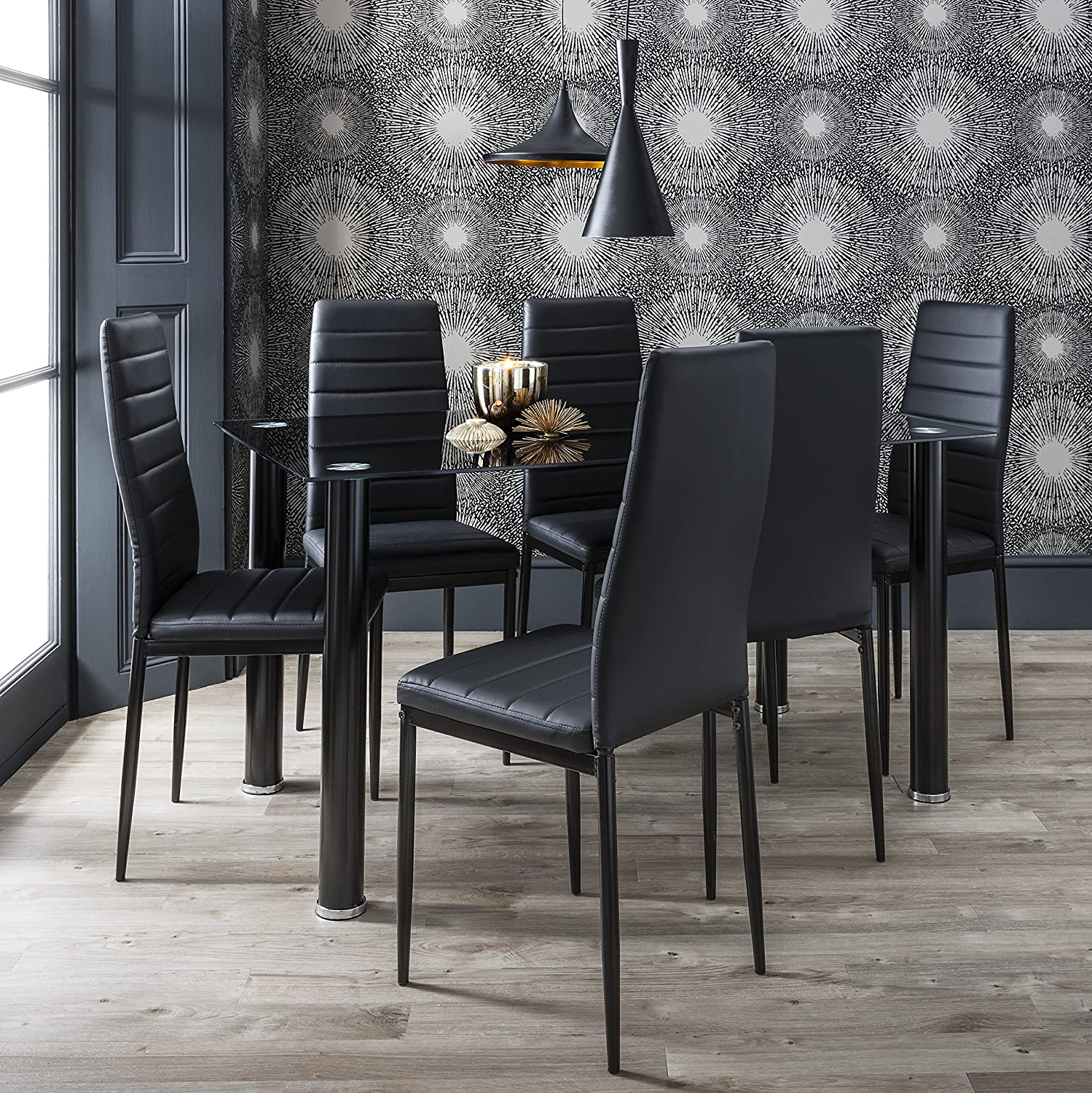Black Glass Dining Table Set 6 Faux Leather Chairs