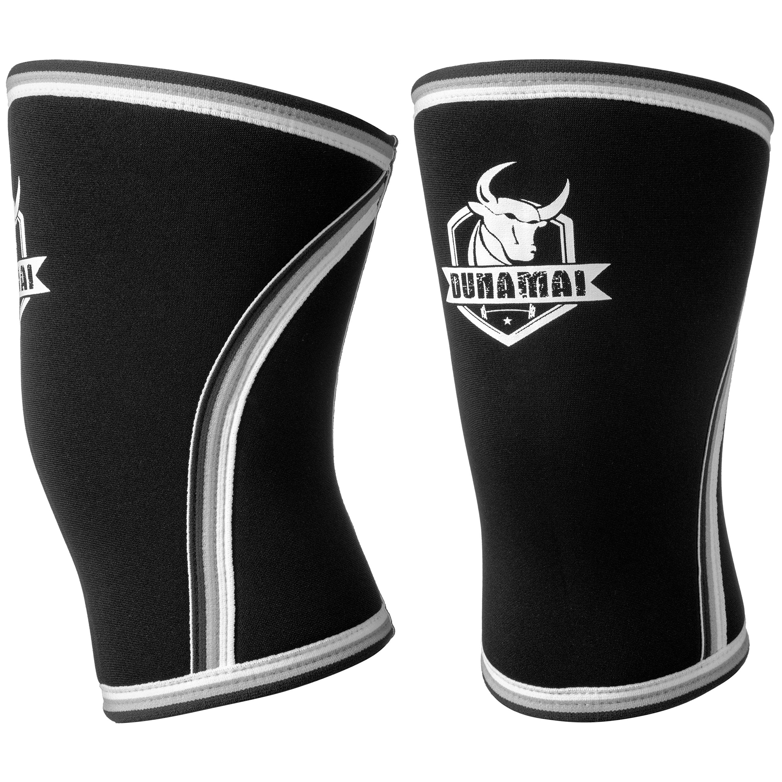 Dunamai Sport 7mm Neoprene Knee Sleeve (1 Pair), 2 Top Compression Sleeves for Powerlifting, Weightlifting and Crossfit, Wraps for Both Women and Men, Knee Brace for Ultimate Support and Protection.
