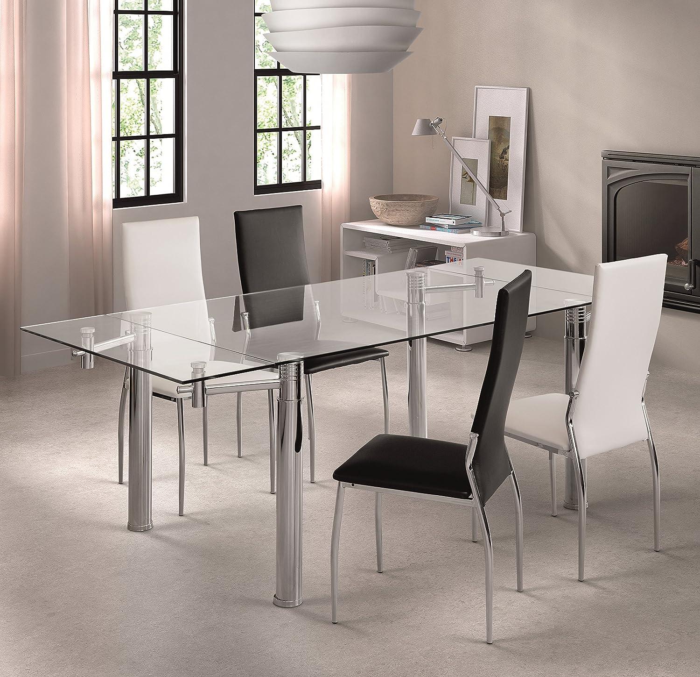 Práctica y robusta mesa de comedor extensible elaborada en vidrio templado y acero.