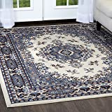 "Home Dynamix Premium Sakarya Area Rug by Traditional Persian-Inspired Carpet | Stylish Medallion Print and Classic Boarder Design | Shades of Blue, Cream, Brown and Gray 5'2"" x 7'4"""