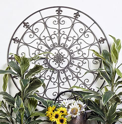 Deco 79 Rustic Fleur-De Lis and Scrollwork Metal Wall Medallion