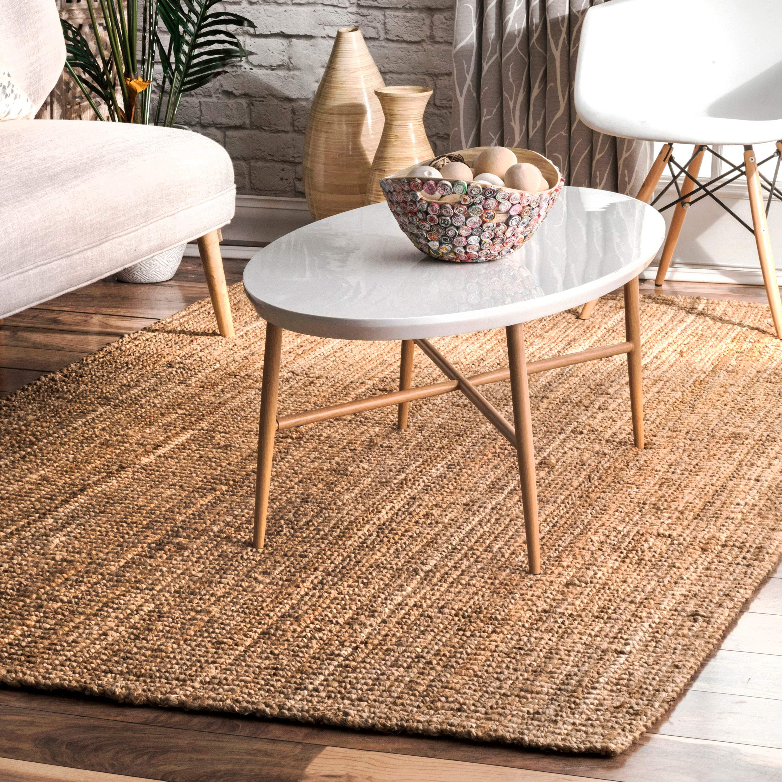 nuLOOM Handwoven Jute Ribbed Solid Area Rugs, 4' x 6', Natural by nuLOOM (Image #1)