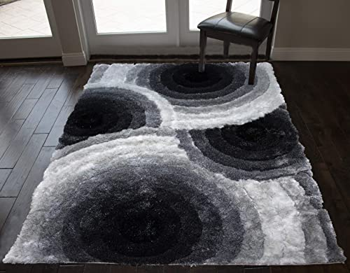 5×7 Feet Black White Colors 3D Carved Pattern Shag Shaggy Furry Area Rug Carpet Rug Hand-Woven Fuzzy Modern Contemporary Decorative Designer Soft Plush Bedroom Living Room Large
