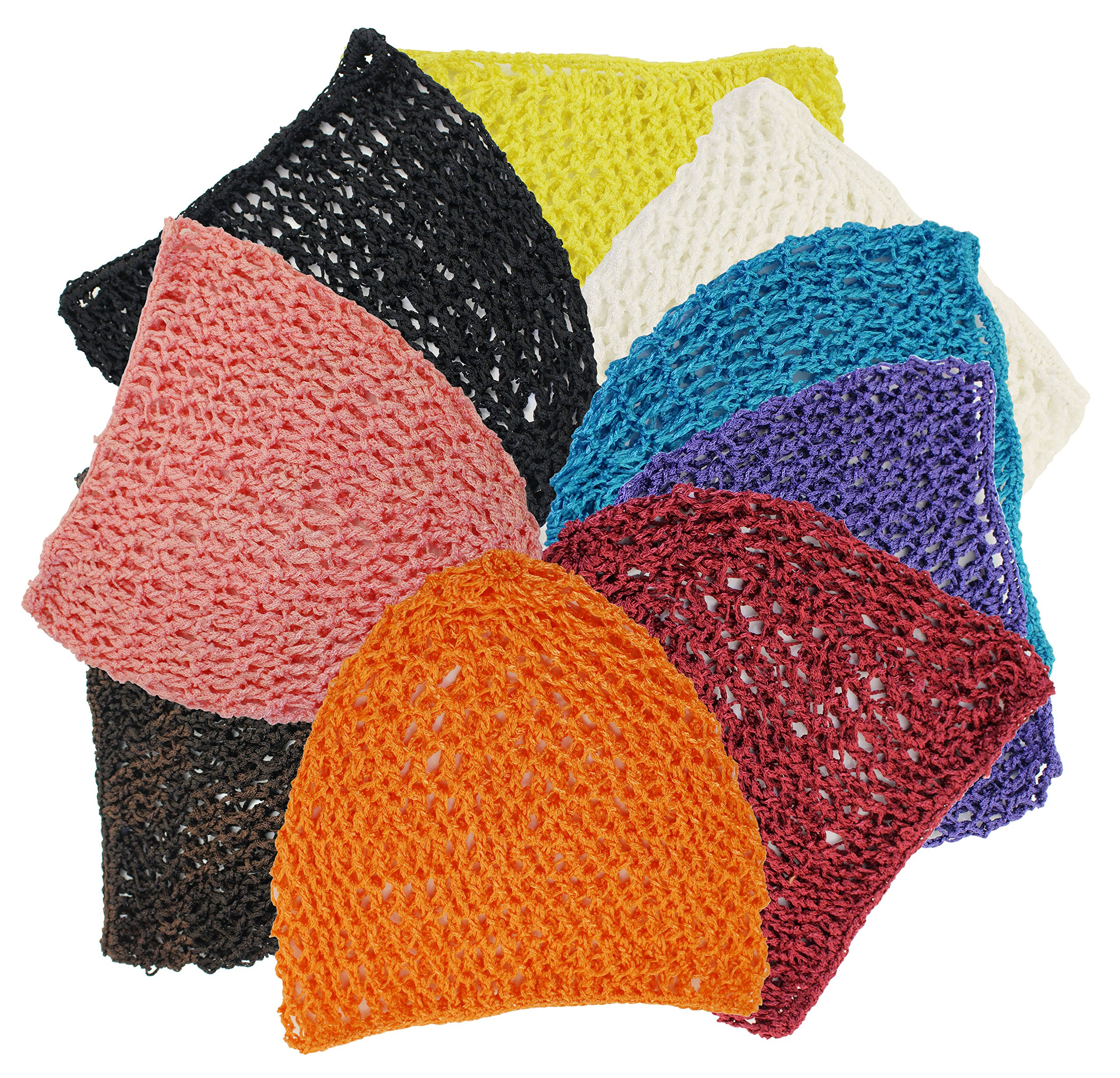 One Size, Comfortable, Thick and Short Hair net snoods, 9 Wonderful Colors for You to Choose, A Ture Value Pack- 6 The Same Color in The Package or 9 a Pack. (9 Mix Colors)