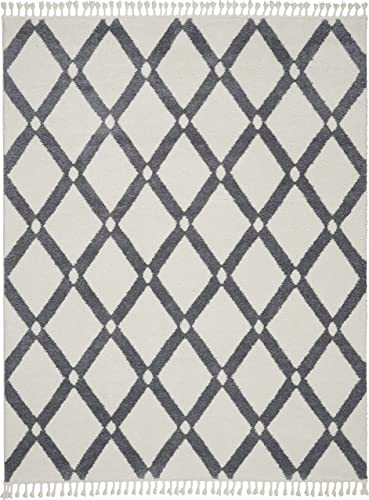 Nourison Diamond Trellis Shag Plush Contemporary 7'10″ x 10'6″ Area Rug 8'x11'