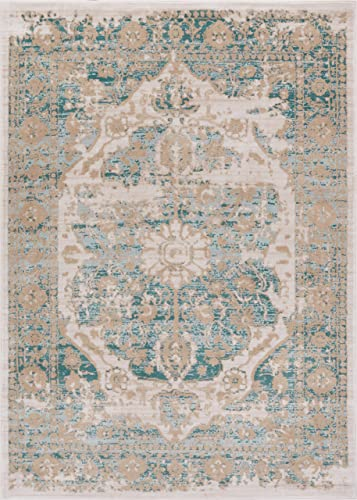 Well Woven Kensington Maxwell Blue Modern Medallion Antique Vintage Distressed Area Rug 7'10″ x 10'6″