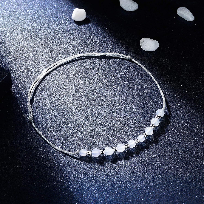 J.End/éar Bracelet de Cheville Argent Sterling 925 Cha/îne De Cheville R/églable /à La Main de Corde R/églable 22 /à 34 cm