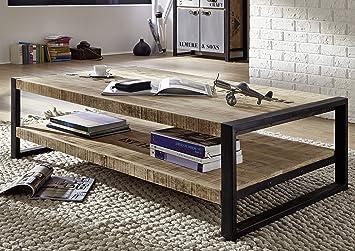Table Basse Bois Massif Brut.Table Basse Industrielle 140x80cm Bois Massif De Manguier Brut Fer Et Bois Imprime Factory 126