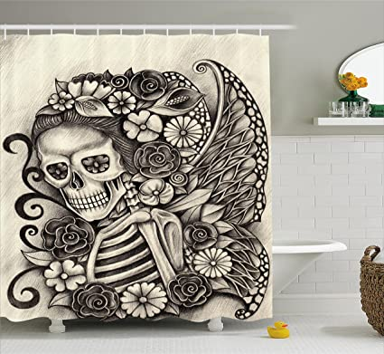 Ambesonne Day Of The Dead Decor Shower Curtain Spanish Mexican Festive Theme Skeleton Girl With