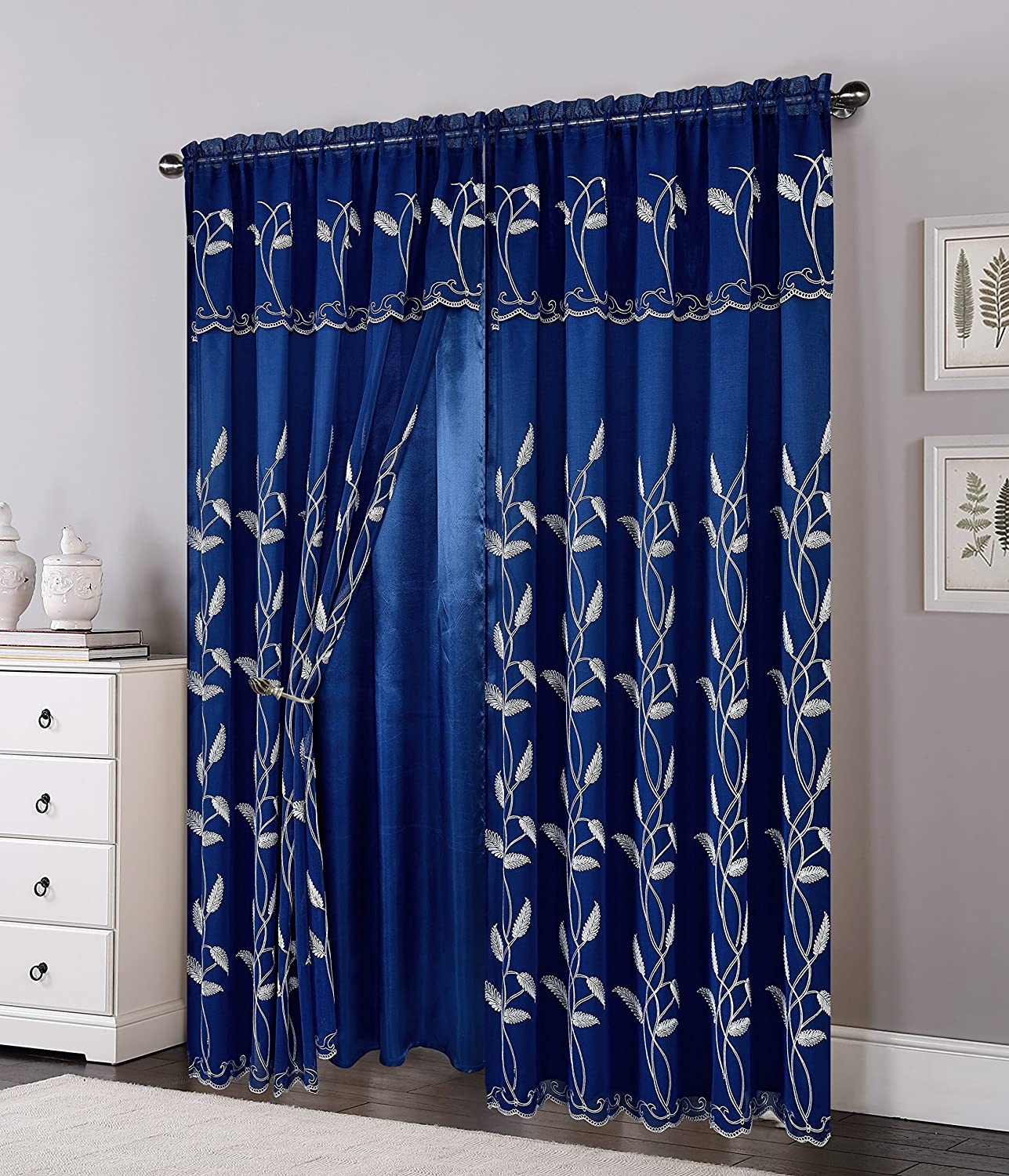 Elegant Comfort Luxurious Beautiful Curtain Panel Set with Attached Valance and Backing Navy Blue