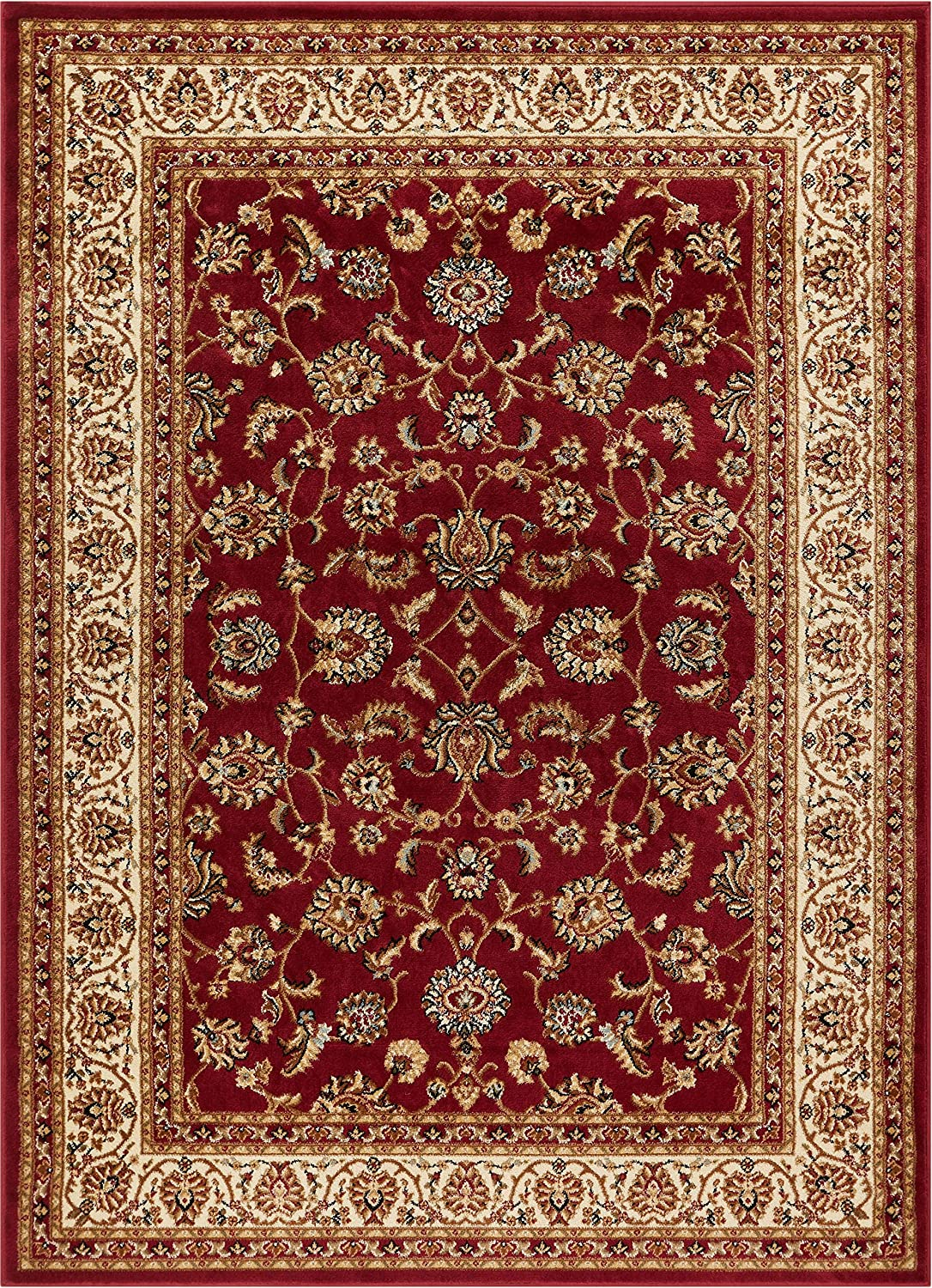 "Noble Sarouk Red Persian Floral Oriental Formal Traditional Area Rug 8x10 8x11 (7'10"" x 9'10"") Easy to Clean Stain Fade Resistant Shed Free Modern Contemporary Traditional Living Dining Room Rug"