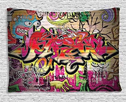 Rustic Home Decor Tapestry By Ambesonne Graffiti On Wall Urban Street Art With Spray Paint