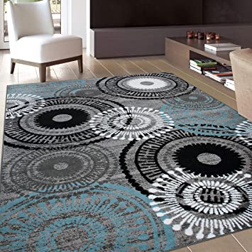 Amazon Com Contemporary Circles Area Rug 7 10 X 10 2 Gray Blue Furniture Decor